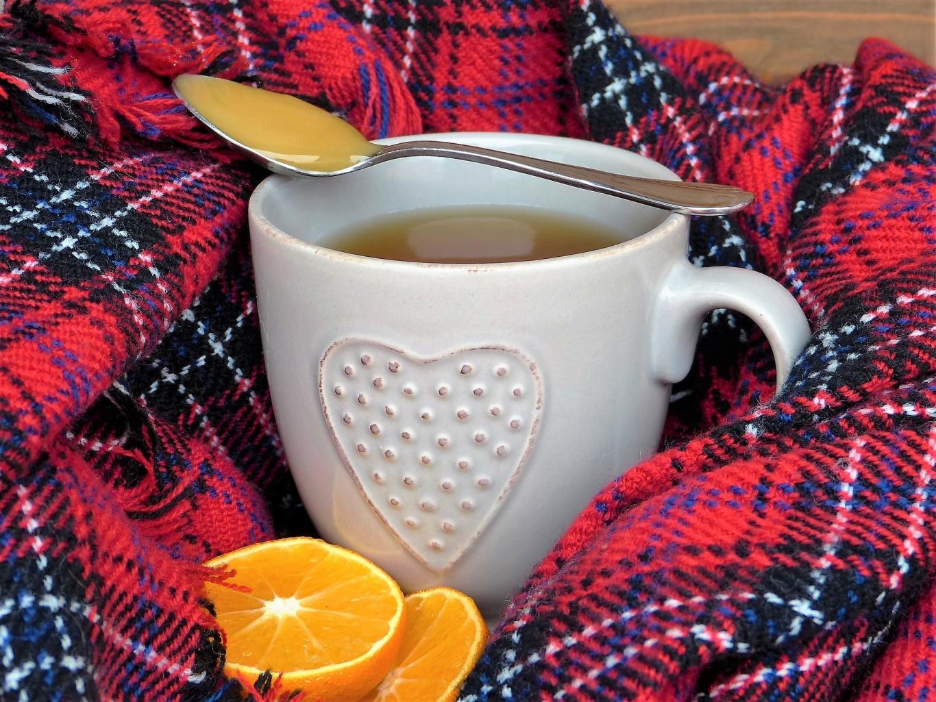 Taza de infusión y rodajas de naranja sobre una manta