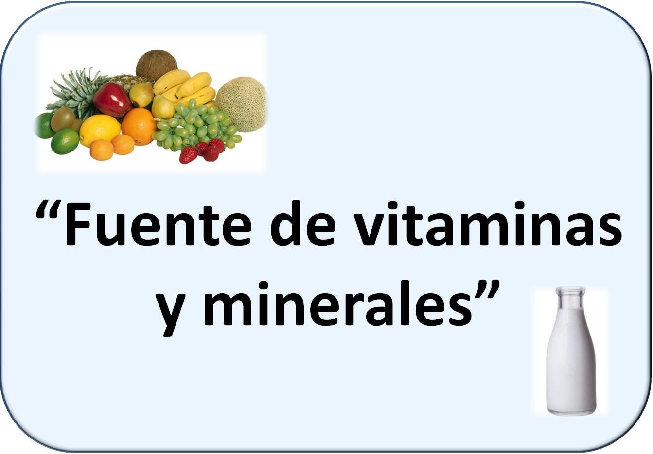Simbología de vitaminas y minerales: frutas y leche