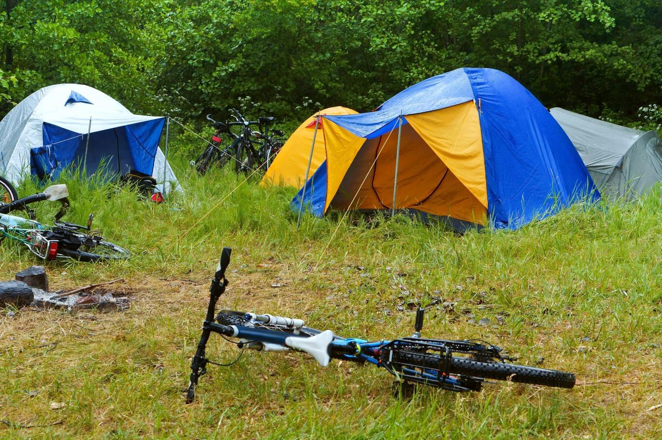 Tiendas de campaña y bici en un prado