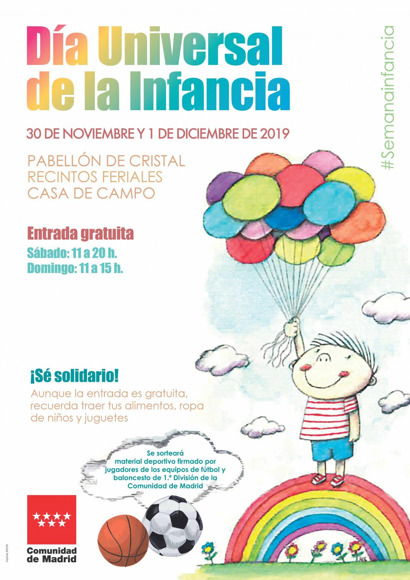 La Comunidad de Madrid celebrará el Día Universal de la Infancia y el XXX Aniversario de la Convención de los Derechos del Niño de Naciones Unidas