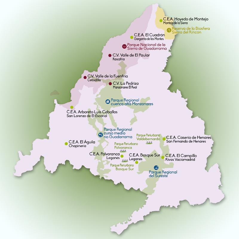 Imagen del mapa con la zonificación de las rutas