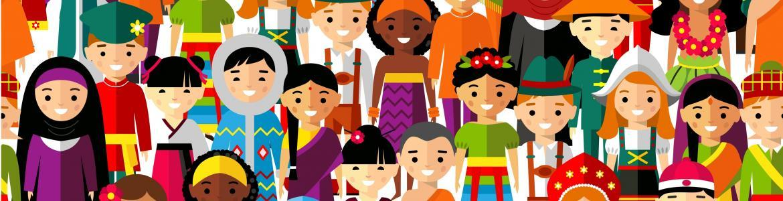 Dibujo personas multiraciales