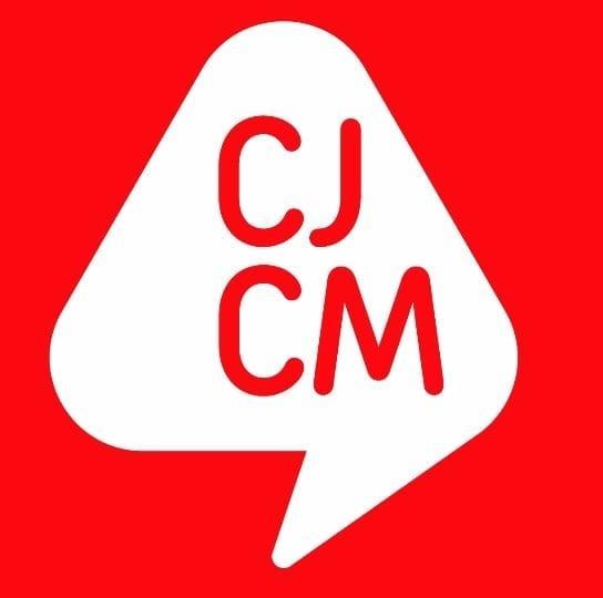 Logo blanco y rojo del Consejo de la juventud de la Comunidad de Madrid