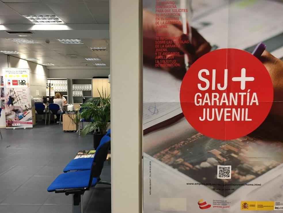 Imagen de cartel de garantía juvenil en la oficina joven