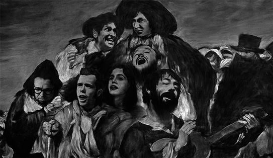 imagen en blanco y negro con grupo