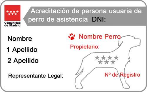 Tarjeta acreditativa de persona usuaria de perro de asistencia