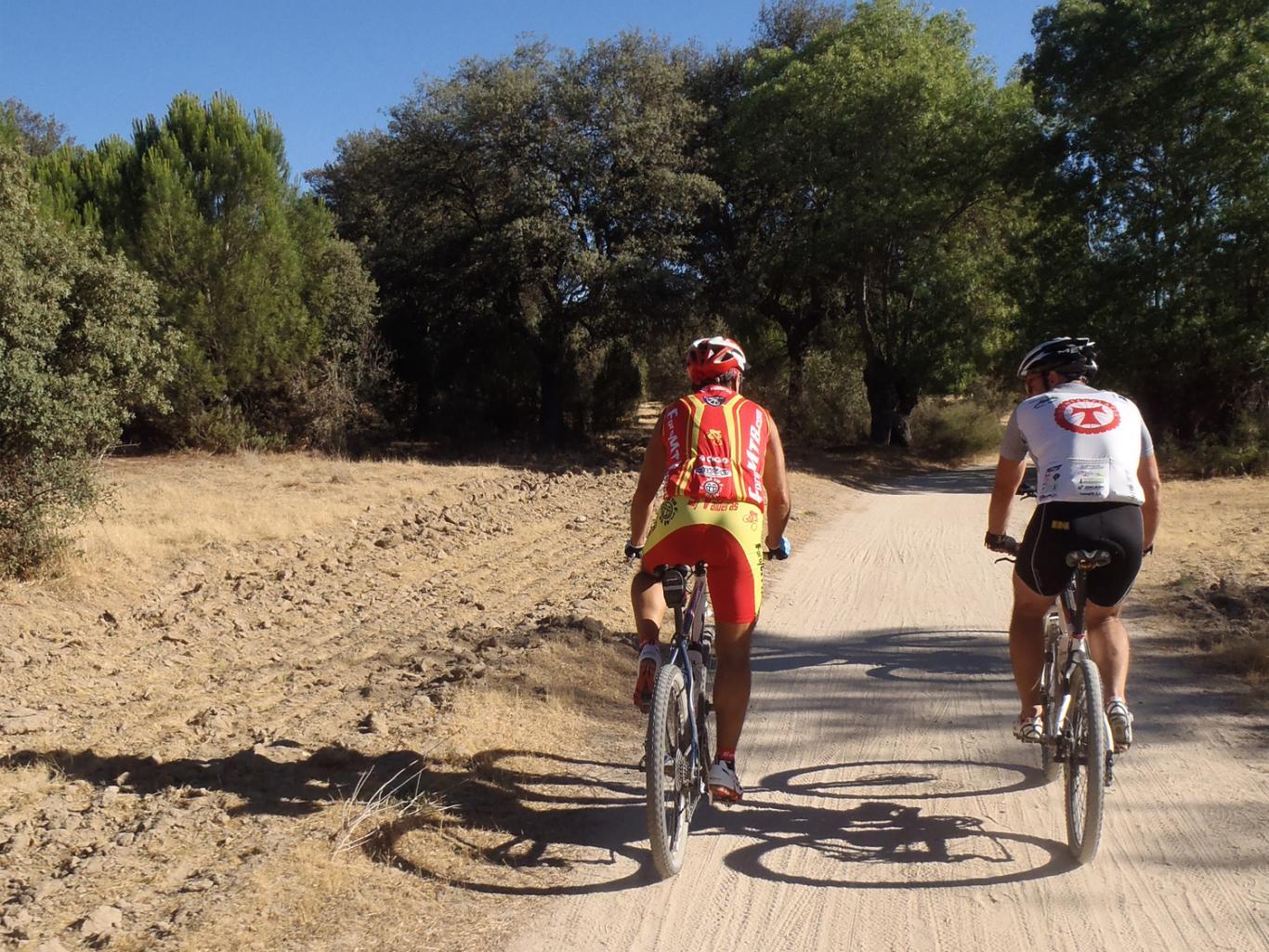 Ciclistas pedaleando por un camino