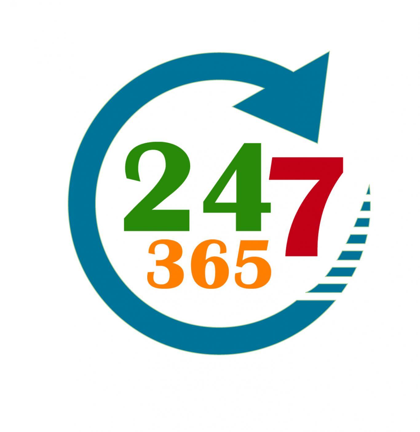 """Logo """"24 horas los 7 días a la semana los 365 días del año"""""""
