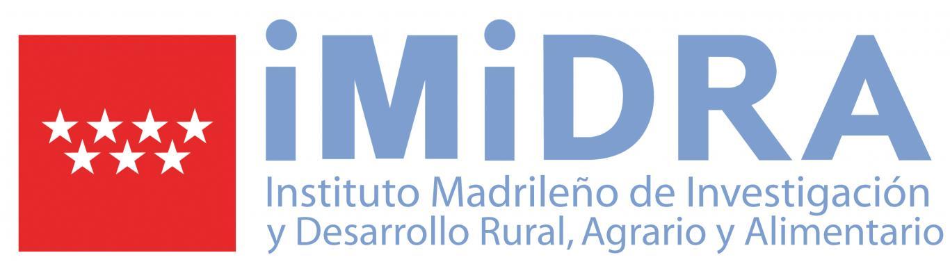 Logotipo del IMIDRA en color azul con la bandera de la CM