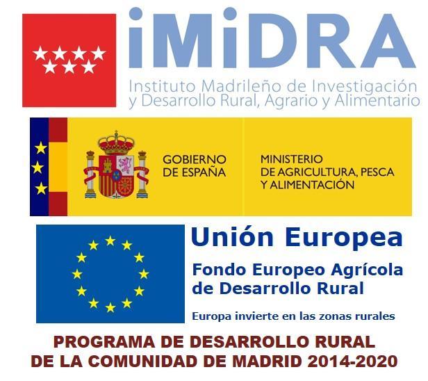 Logotipos del IMIDRA, MAPA y Unión Europea