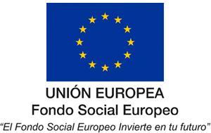 """Logotipo del Fondo Social Europeo con el lema: """"El Fondo Social Europeo invierte en tu futuro"""""""