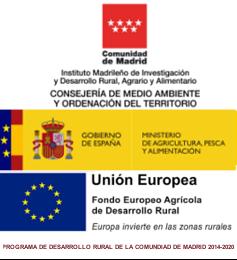 logotipos de los organismos intervinientes en el plan de desarrollo rural de la Comunidad de Madrid, colocados en vertical: la Comunidad de Madrid, Ministerio y Unión Europea más emblema del PDR