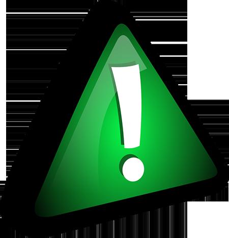señal de precaución en color verde