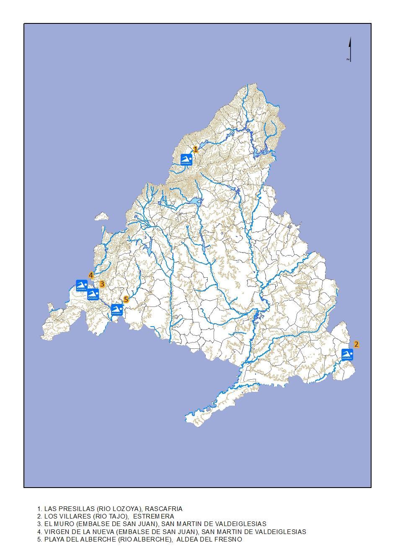 Mapa de la localización de las Zonas de baño 2018