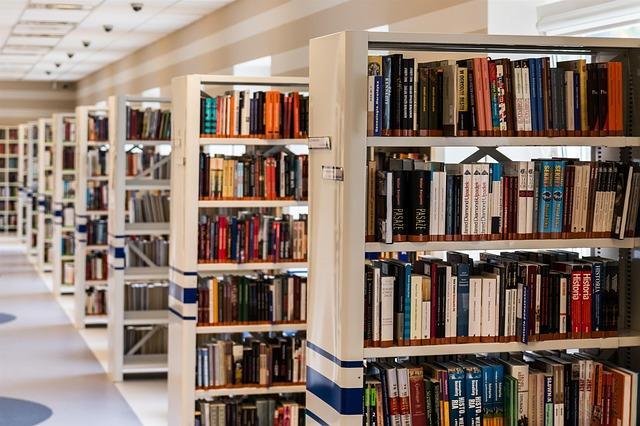 Imagen de estanterías con libros de una biblioteca