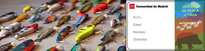 Imagen de cebos de pesca y licencia de caza o pesca