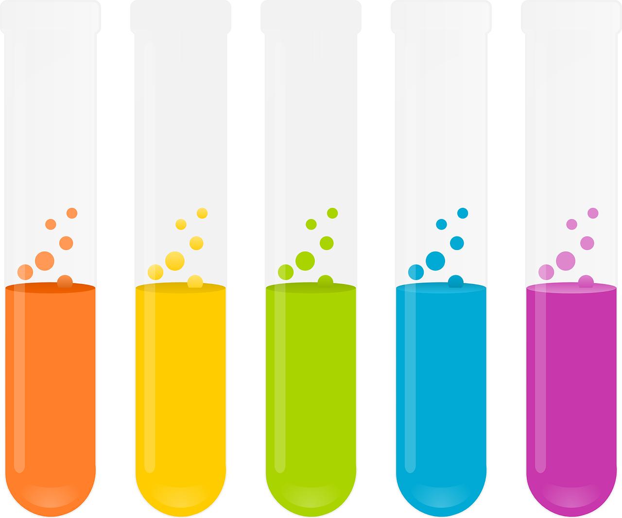Dibujo de unos tubos de ensayo con líquidos de diferentes colores