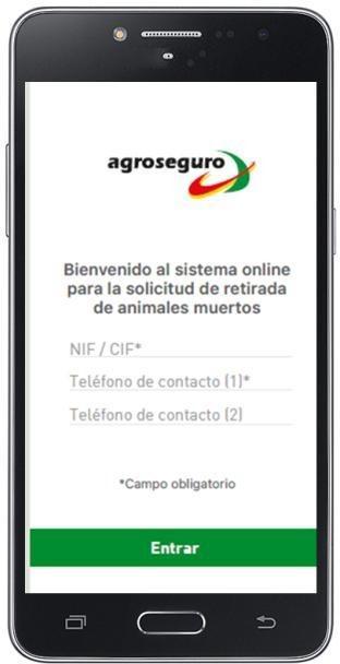 Teléfono móvil con la App Retirada de animales muertos en la pantalla