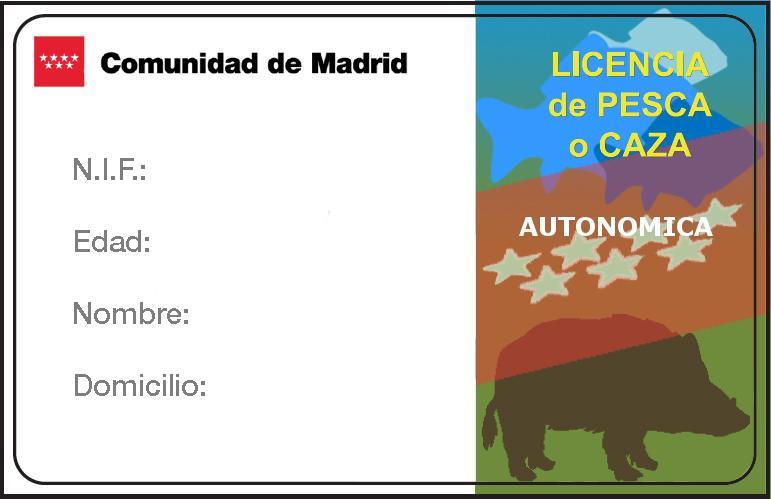 Modelo licencia autonómica de caza o pesca