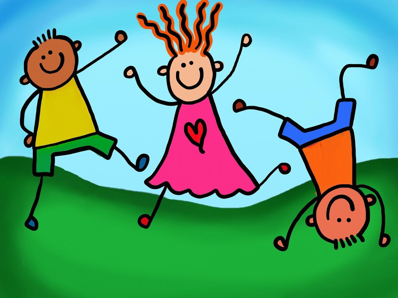 Dibujo de niños jugando