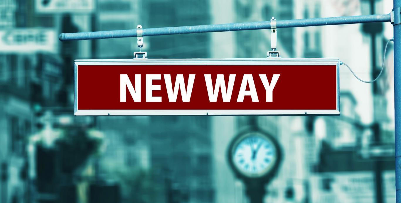 """Cartel con las palabras """"New way"""""""