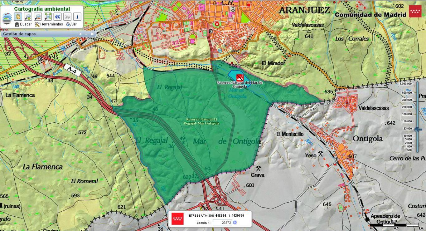 Imagen de El Regajal-Mar de Ontígola del Visor de cartografía ambiental