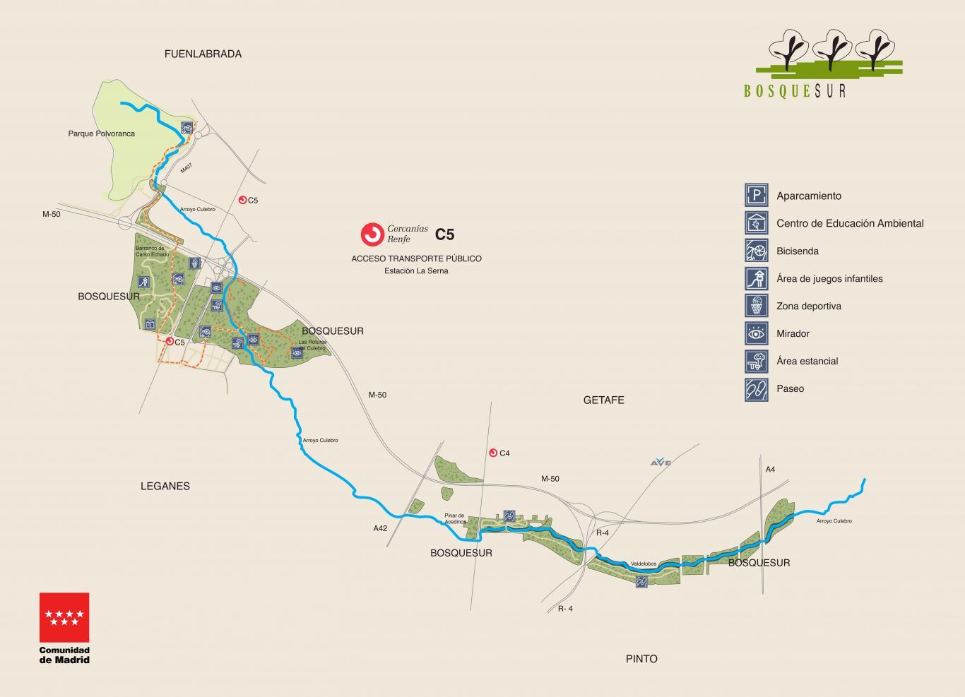 Parque Forestal Bosquesur. Mapa de localización