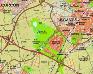 Mapa del Centro de educación ambiental Polvoranca