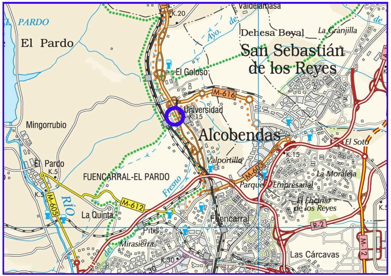Plano de situación de la obra Pasarela peatonal acceso a la UAM sobre la M-607