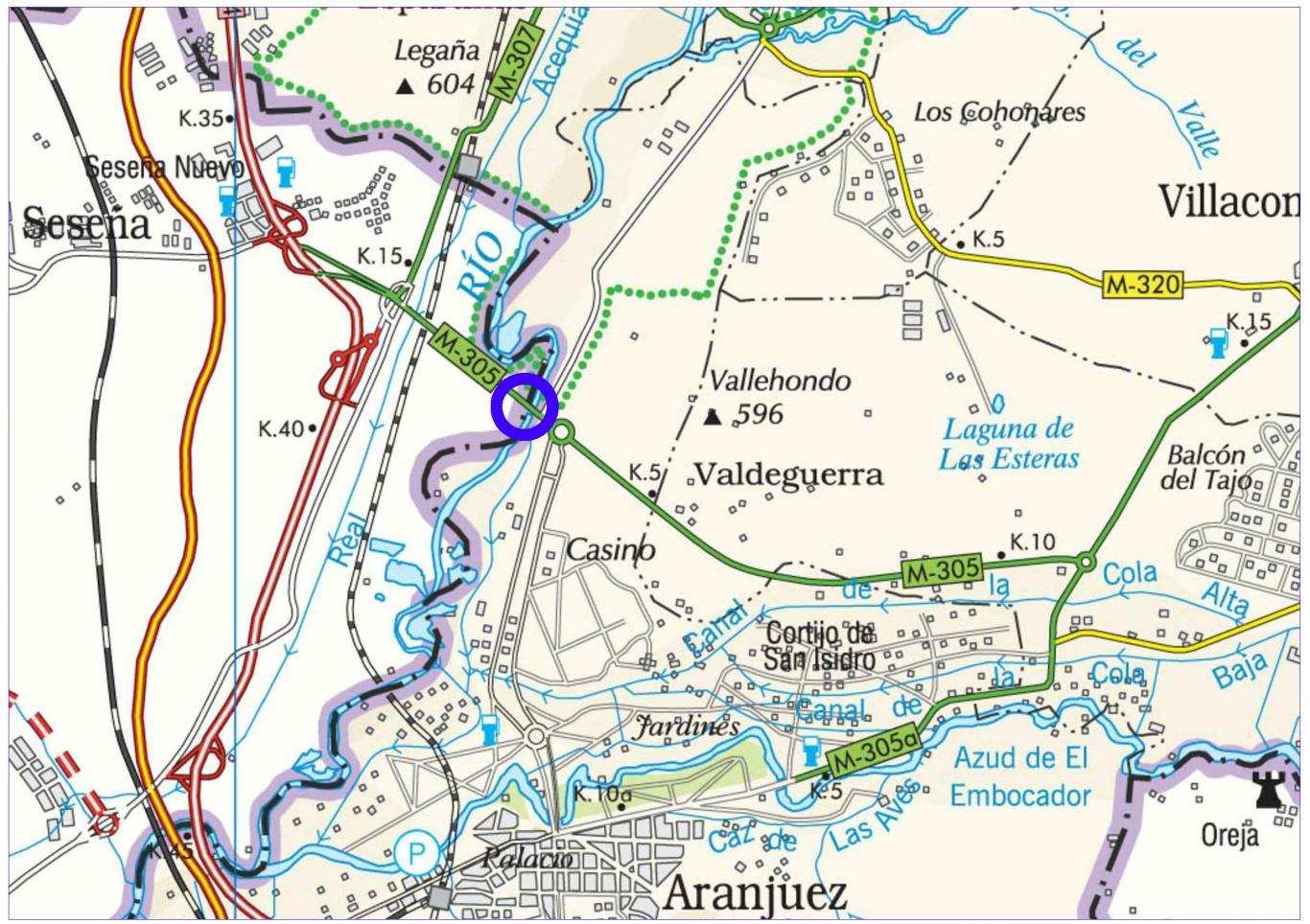 Mapa de situación de la actuación sobre el puente largo de Aranjuez en la M-305