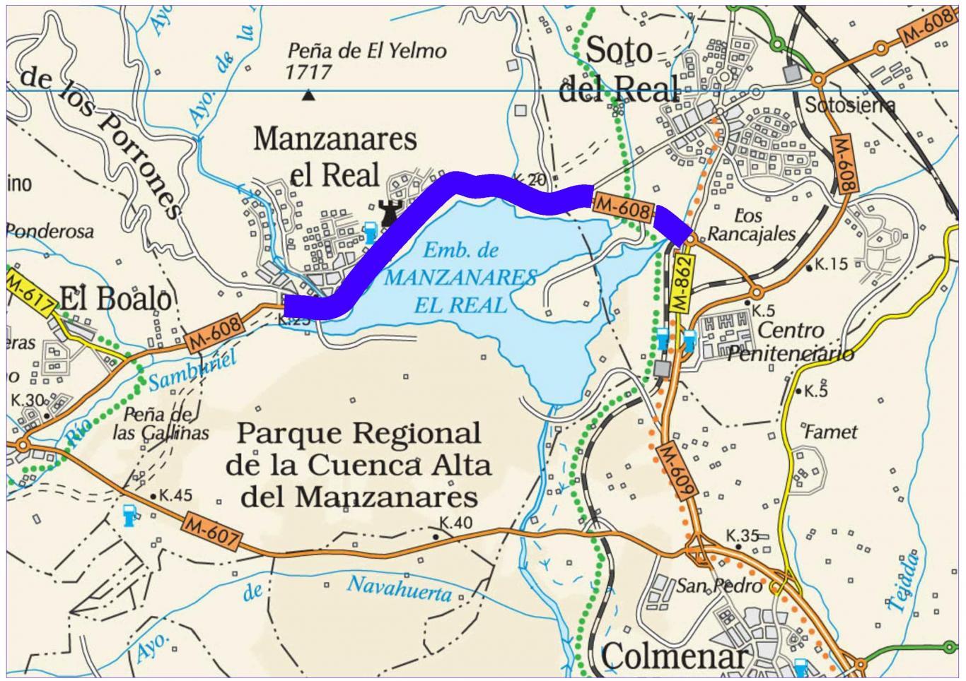 Plano de situación de la obra M-608 pk 18,000-25,500