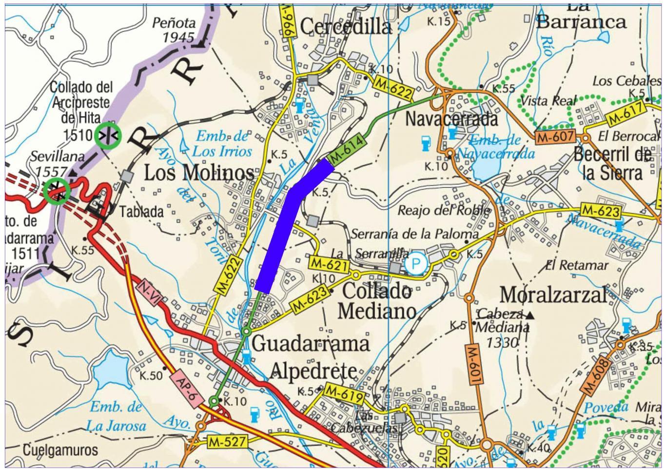 Plano de situación de la obra M-614 pk 4,000-8,500