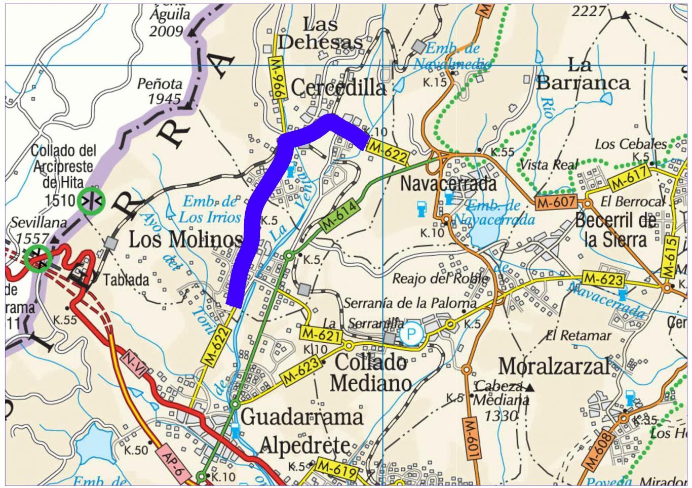 Plano de situación de la obra M-622 pk 3,000-12,100