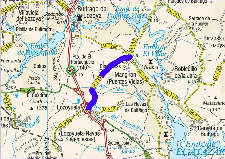 Plano de situación de la obra M-135 pk 0,000-6,200