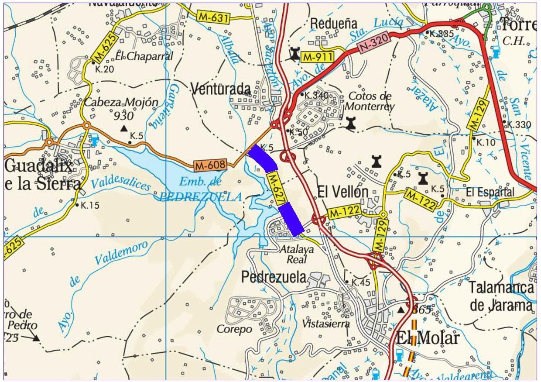 Plano de situación de la obra M-627 pk 1,000-5,200