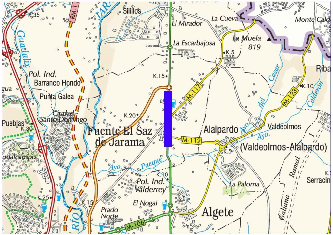 Plano de situación de la obra M-103 pk 12-14,510