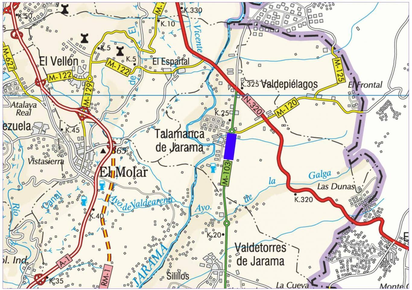 Plano de situación de la obra M-103 pk 24-25