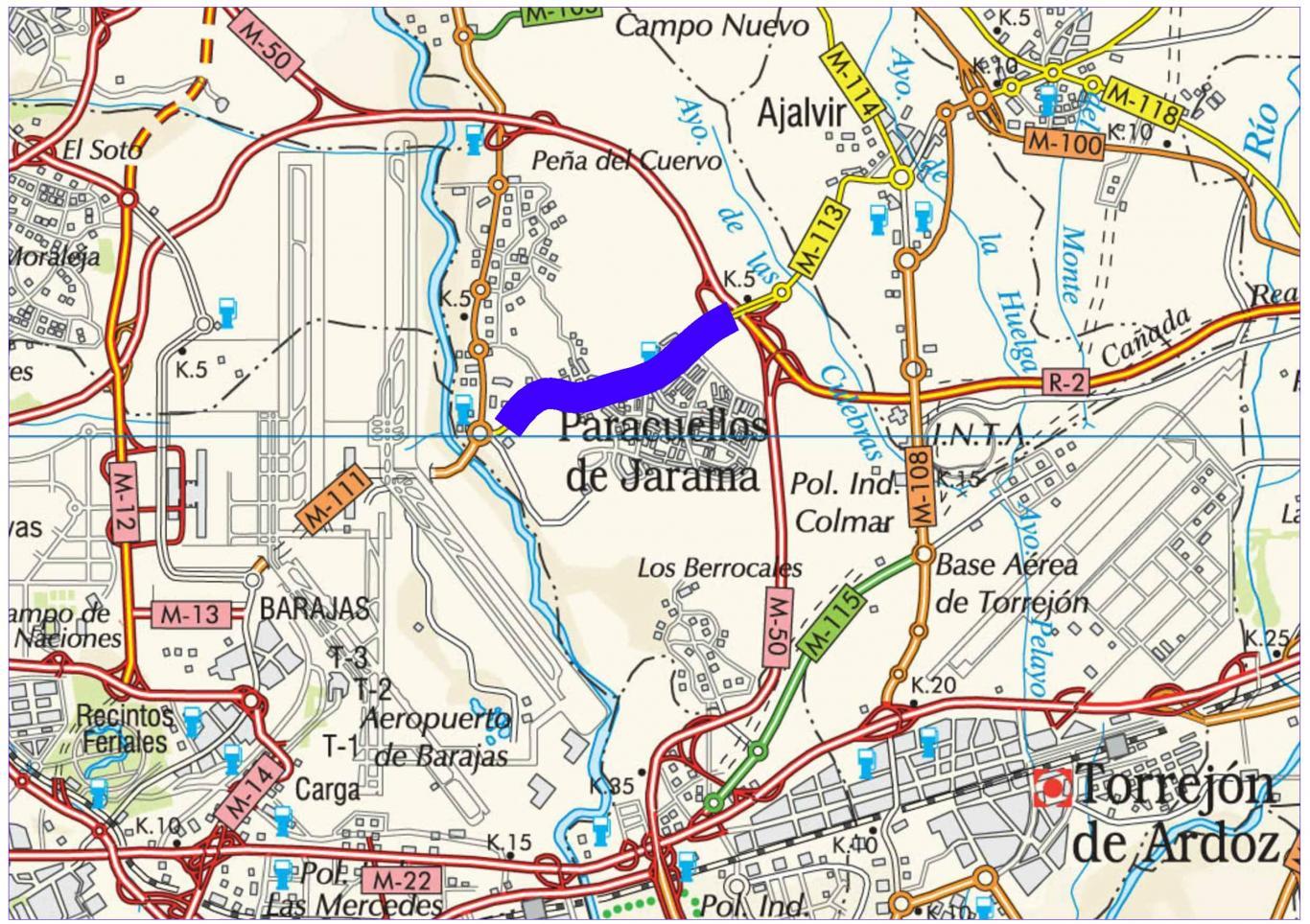 Mapa de situación de la obra M-113 pk 3,969-5,160