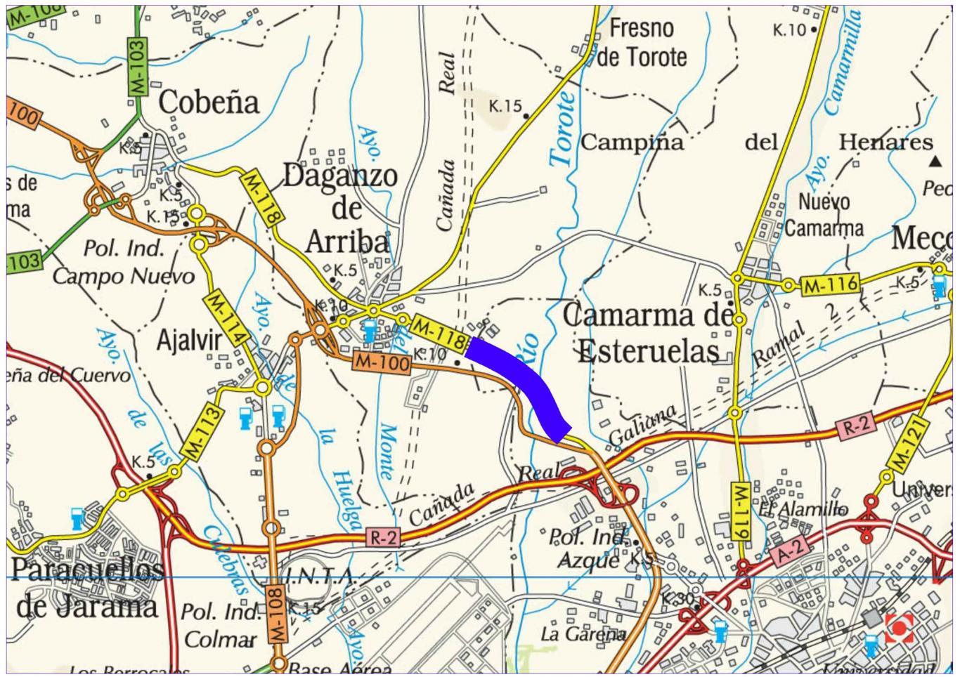 Plano de situación de la obra M-118 pk 0,000-3,000