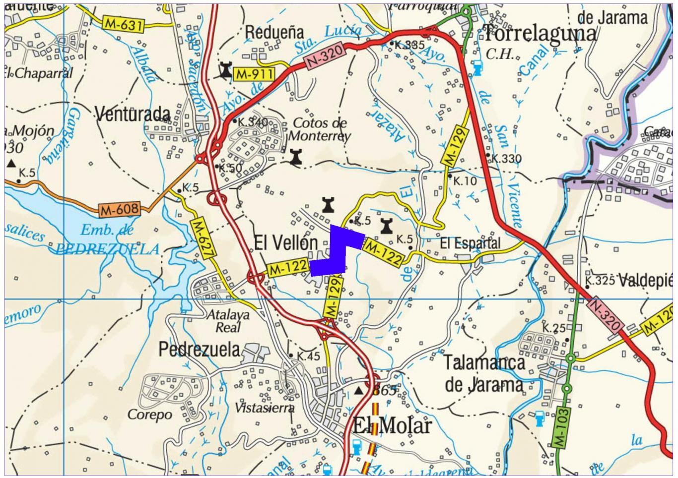 Plano de situación de la obra M-122 pk 1,400-3,500