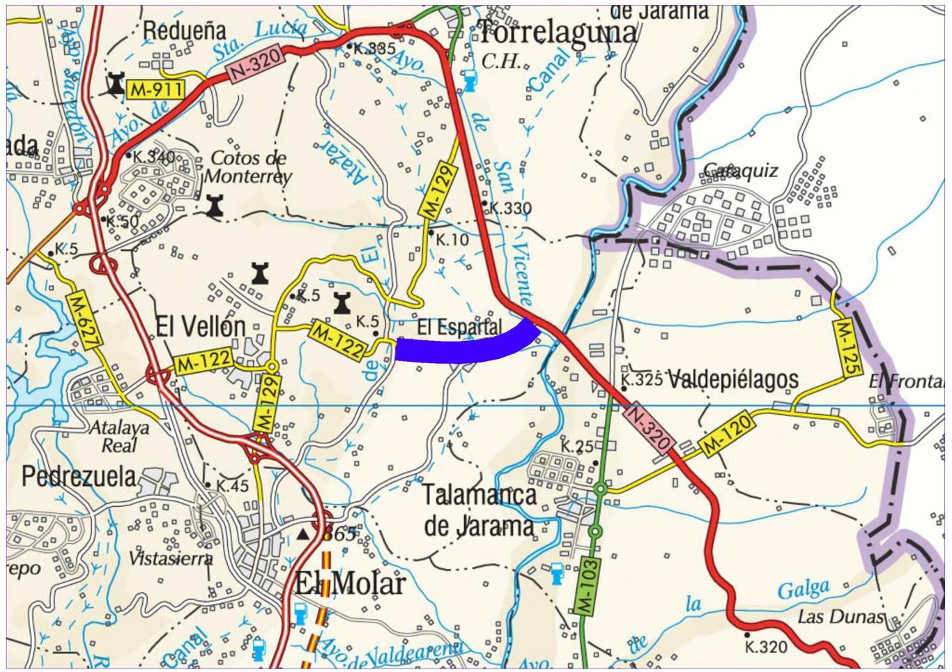 Plano de situación de la obra M-122 pk 6,600-9,200