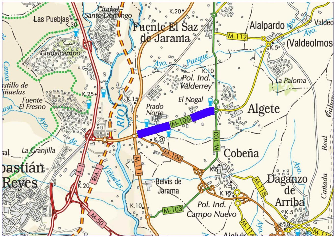 Plano de situación de la obra M-106 pk 0,000-4,500