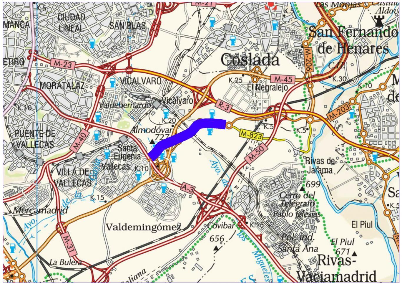 Plano de situación de la obra M-203 pk 0,000-4,000