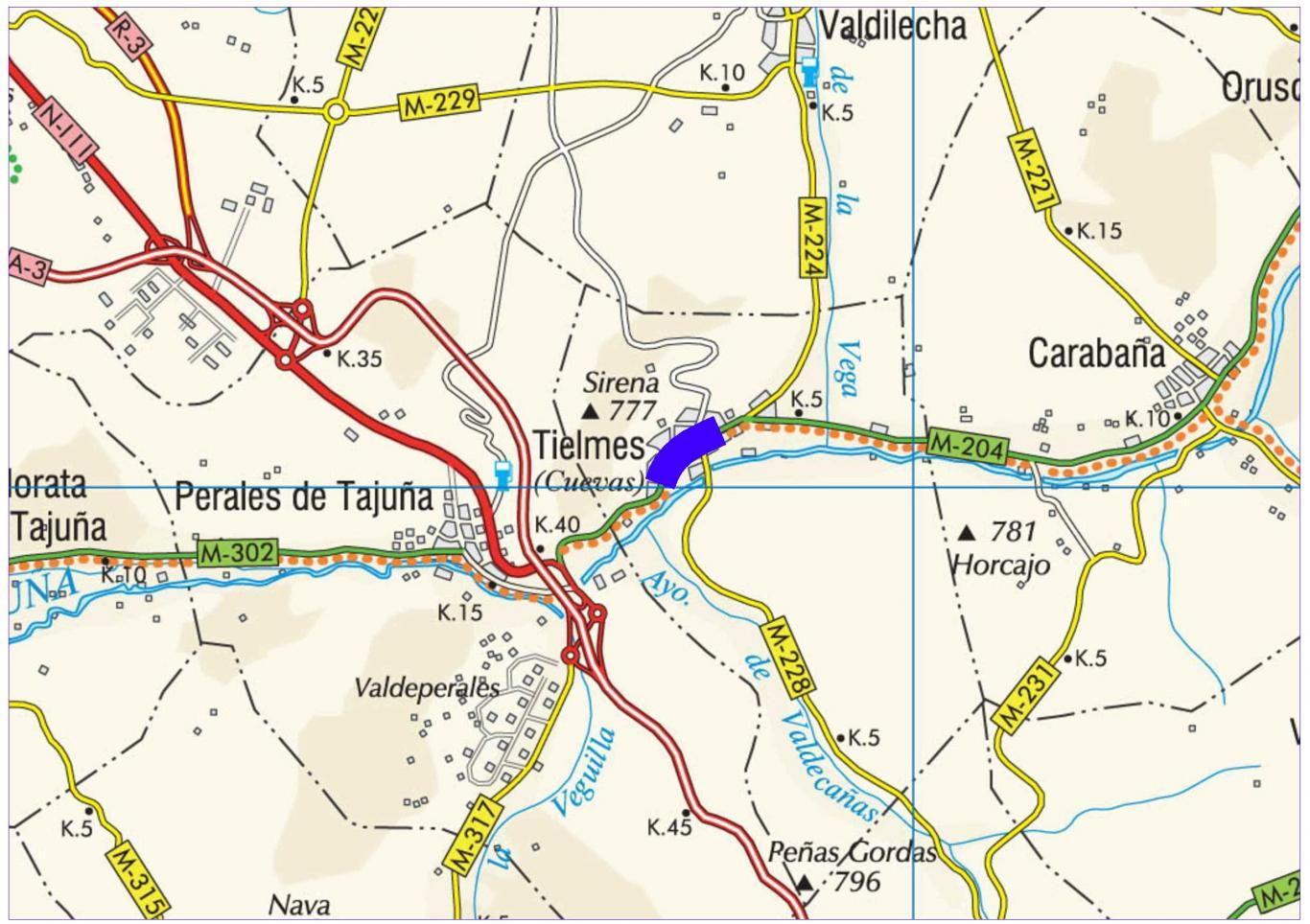 Plano de situación de la obra M-204 pk 2,000-3,500
