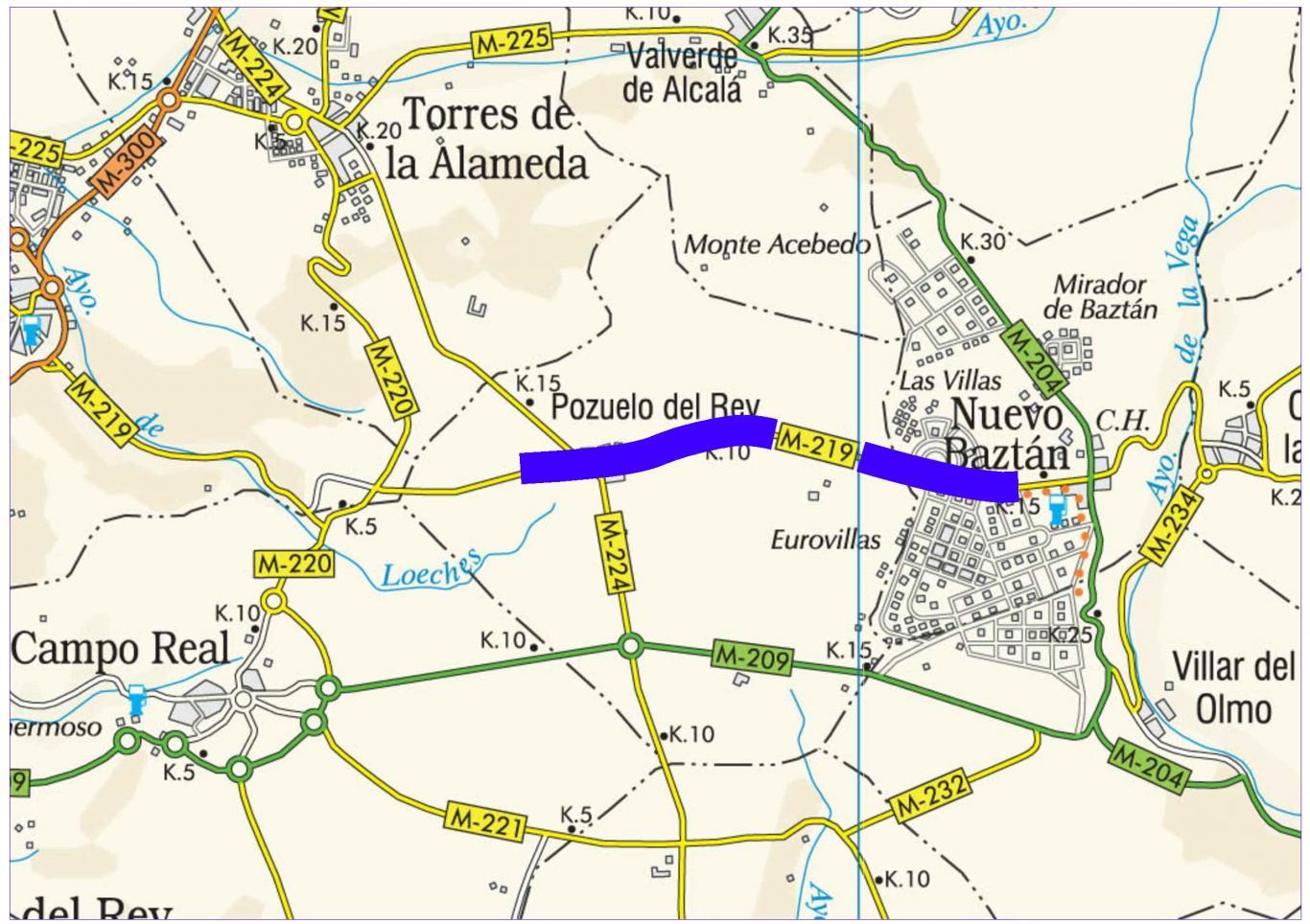 Plano de situación de la obra M-219 pk 8,000-15,500
