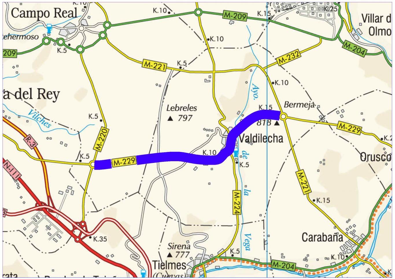 Plano de situación de la obra M-229 pk 5,300-15,500