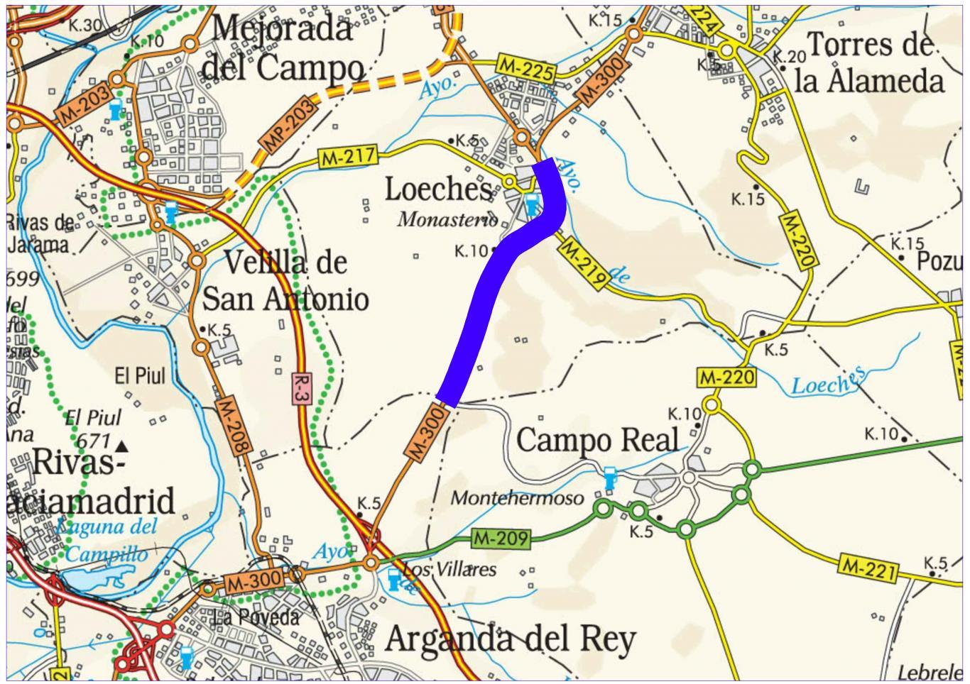 Plano de situación de la obra M-300 pk 7,500-13,200