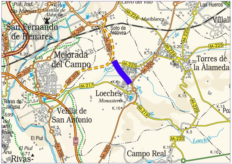 Plano de situación de la obra M-206 pk 0,000-2,300
