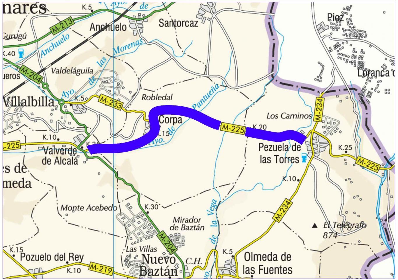 Plano de situación de la obra M-225 pk 11,000-23,000