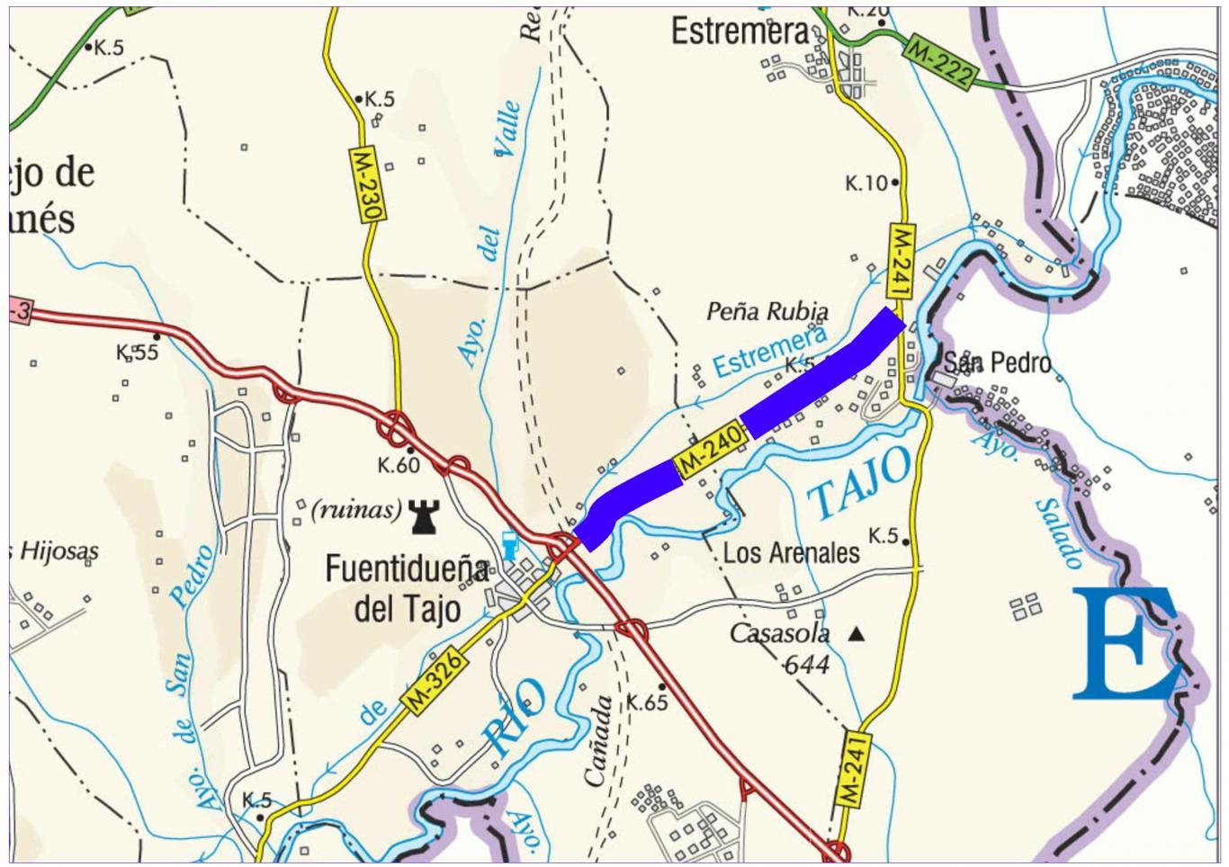 Plano de situación de la obra M-240 pk 0,000-6,000